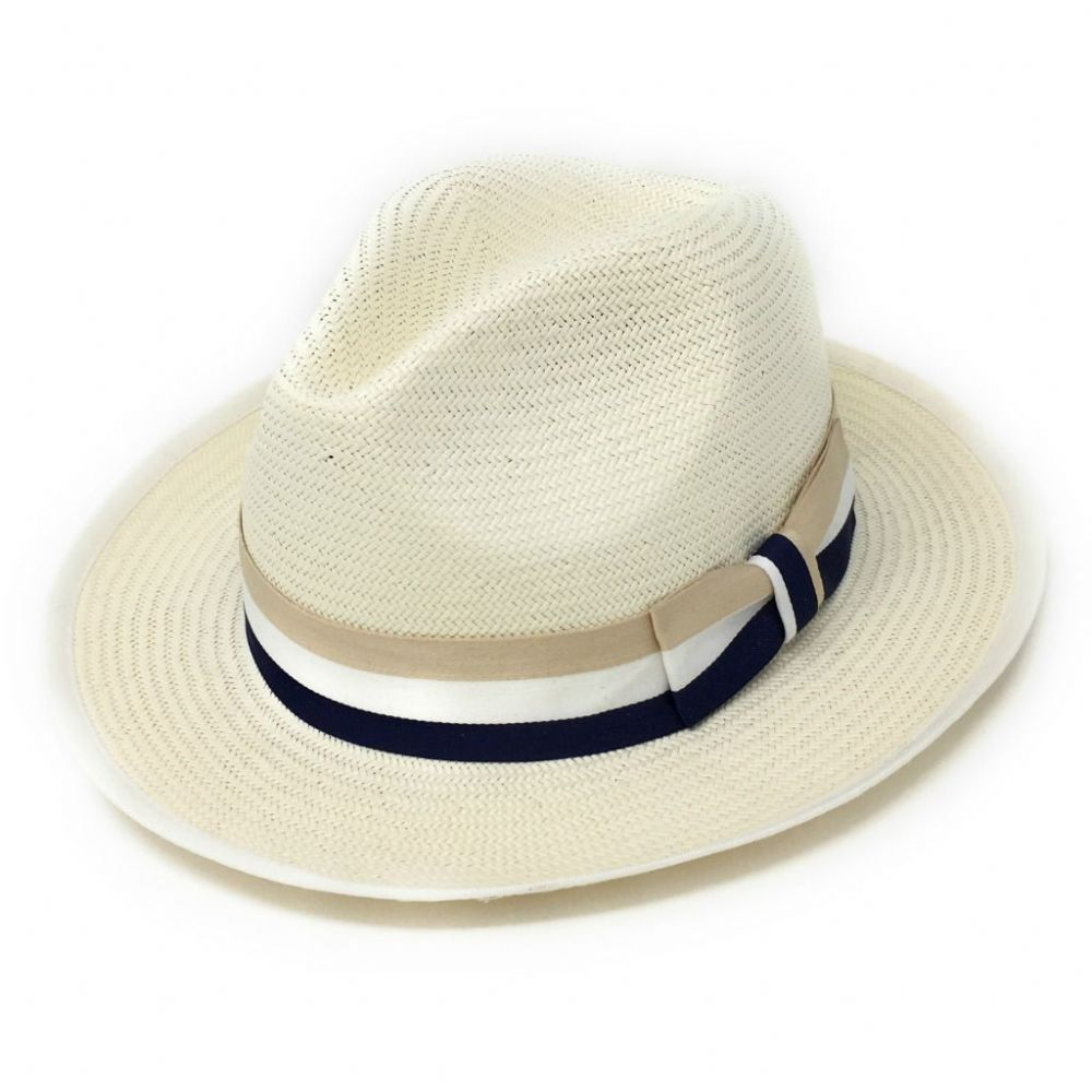 Panama Style Fedora Hat with Beige, Cream & Navy Band